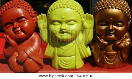 Three Multi-colored Asian Dolls-emotions