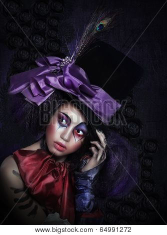 Expression. Pantomime. Clown In Fancy Carnival Hat With Artistic Makeup