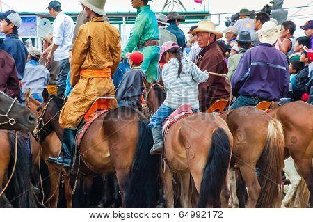 Crowd Of Horseback Spectators Watching Nadaam Horse Race