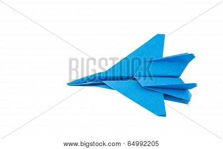 Origami F-15 Eagle Jet Fighter Airplane Isolated On White Background