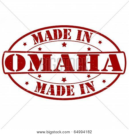 Stamp with text made in Omaha inside vector illustration poster