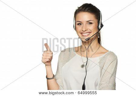 Headset woman call center operator