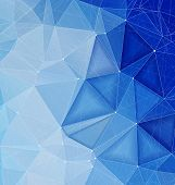 Blue polygonal background with lines dos triangular shapes with copy space. Geometric polygonal abstract art backdrop for mobile and web design.. . poster