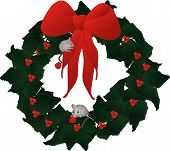 Two Mice, climbing up ribbon to get at holly berries to eat, on a holly wreath... poster