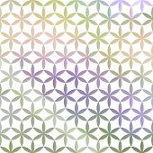 Green and lavender pastel defocused background with white geometric ornament poster