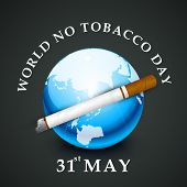 World No Tobacco Day concept with stylish text and globe on grey background. poster