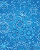 Vector design of geometric medallions in blue hues poster
