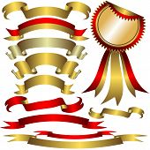 Collection of gold and silver ribbons for celebratory design poster