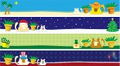An illustration of kitty cat banners with the months of March, July, August and December poster