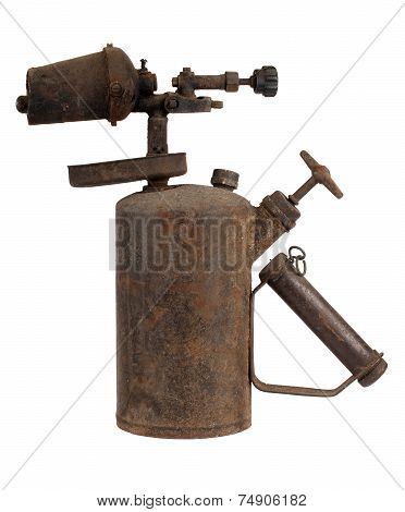 Old rusty blowtorch isolated on white background poster