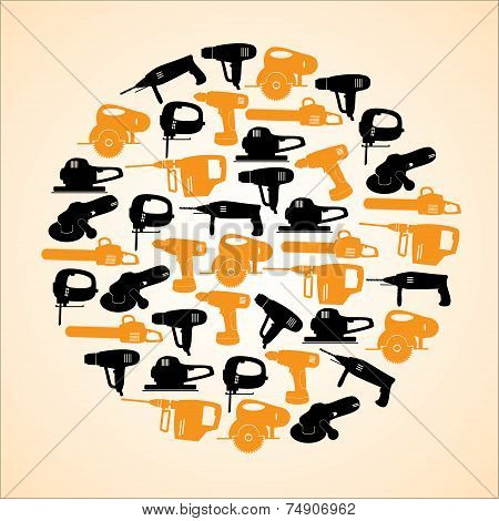 Power Tools Black And Yellow Icons In Circle Eps10