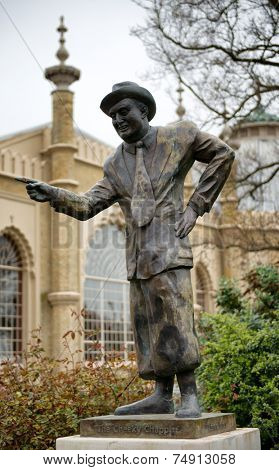 Statue of Comedian Max Miller in Pavilion Gardens, Brighton, England