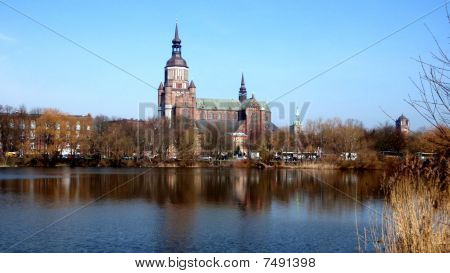 "Marian's church and the ""Frankenteich"" in Stralsund, Germany"