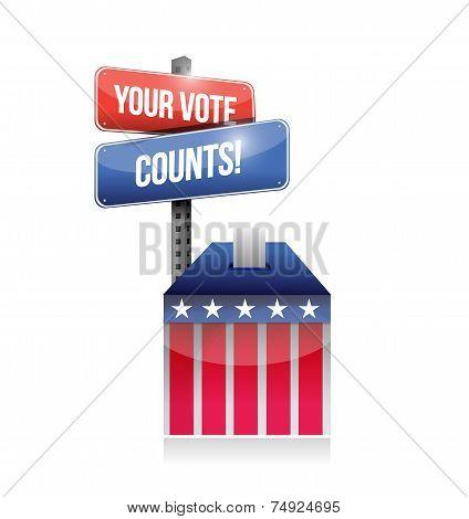 Your Vote Counts Ballot Illustration Design