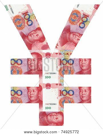 Rmb Symbol Shaped By Rmb Paper Currency