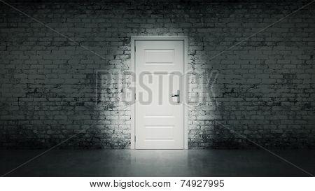 door in a white vintage brick wall