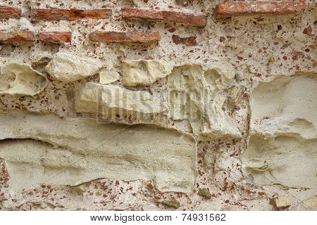 Old Rough Red and White Stone Wall. Background and Texture for text or image. poster