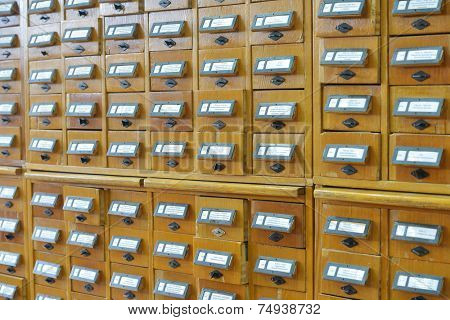 Card index boxes in a library catalog