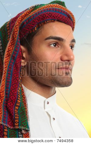 Arab Man Looks Out Expectantly