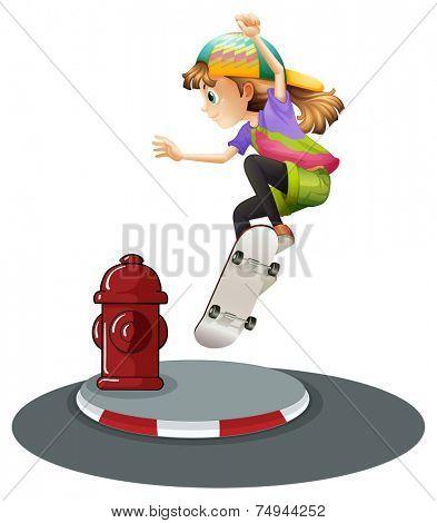 illustration of a girl skateboarding on the road
