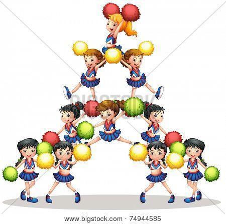 illustration of many cheerleaders
