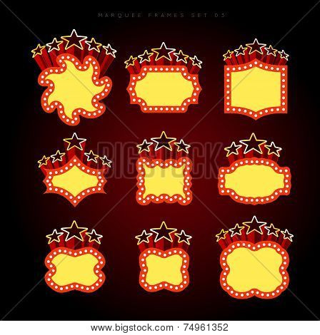 Retro illuminated movie marquee vector set 03. Simple neat flat style poster