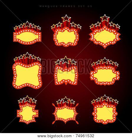 Retro illuminated movie marquee vector set 05. Simple neat flat style poster