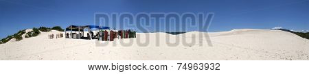 Florianopolis, Santa Catarina, Brazil - January 18, 2010: Panoramic view of a Brazilian dunes called Joaquina located in Florianopolis city in Santa Catarina state