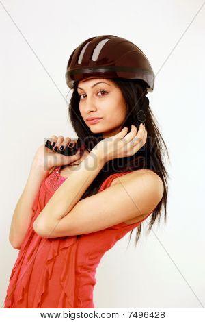 Girl In Safety Helmet