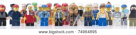 Ankara, Turkey  February 12, 2014:  Studio shot of different types of Lego minifigures isolated on white background.