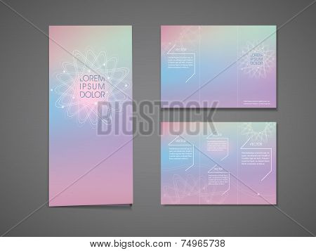abstract colorful flower shape background tri fold brochure template poster