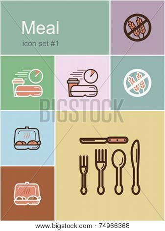 Meal menu food and drink icons. Set of editable vector color illustrations in Metro style.