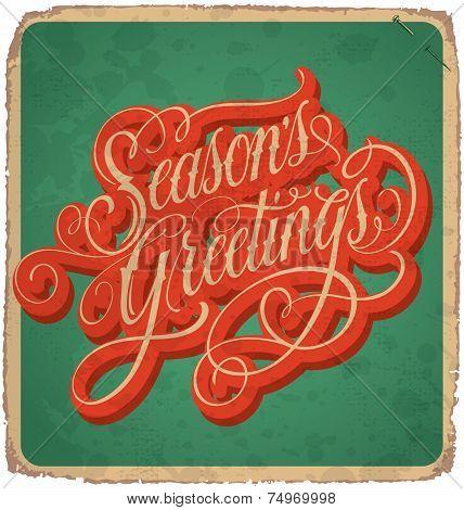 SEASONS GREETINGS hand lettering vintage card (vector)