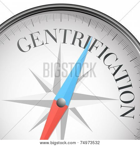 detailed illustration of a compass with gentrification text, eps10 vector