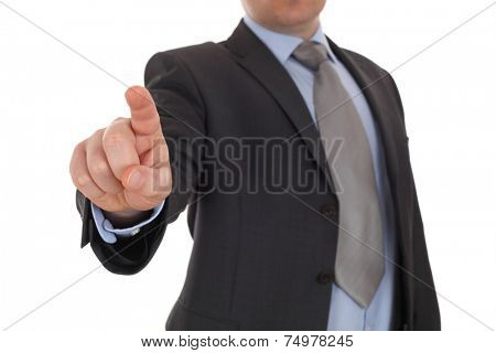 Businessman point finger at you, hand pushing touch screen, business man pressing digital virtual button isolated over white background poster