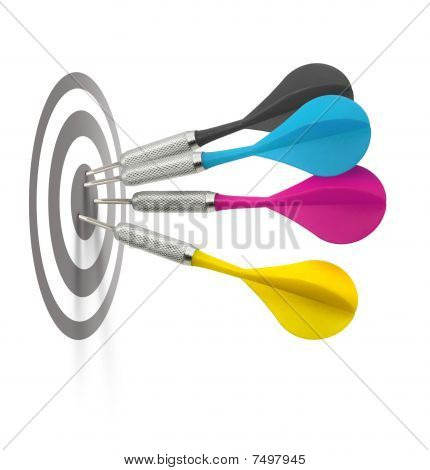 Four cmyk color darts hitting target center use vertical or horizontal poster