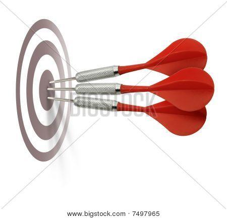 Three Red Darts Hitting Target