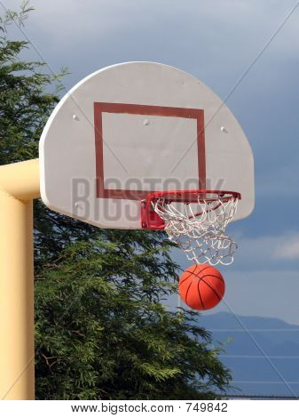 A basketball swishes through the net. poster