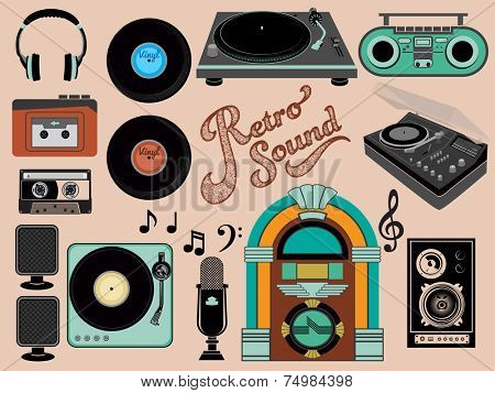 Retro Sound - Set of music-related objects and clip art, including vintage gramophones, juke box, walkman, vinyl records, retro speakers, boom box and cassette tape