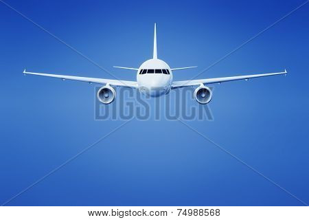 An image of an airplane in the bright blue sky