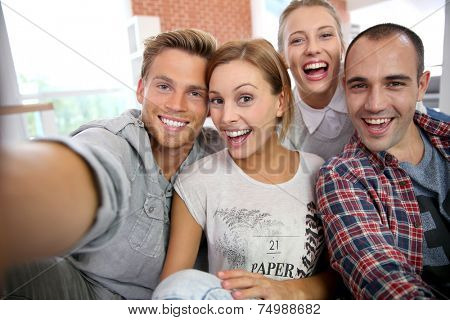 Group of friends taking picture of themselves