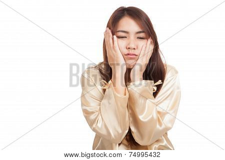 Asian girl  wake up  sleepy and drowsy