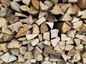 Stacked logs firewood, natural pattern background, biomass poster