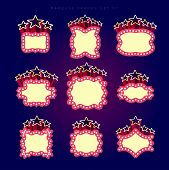 Retro illuminated movie marquee vector set 07. Simple neat flat style poster