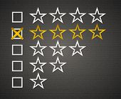 Five matted yellow web button stars ratings with reflection. Black background.. poster