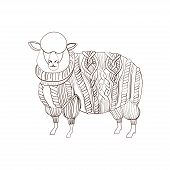 Sheep in knitted sweater, hand drawn illustration poster