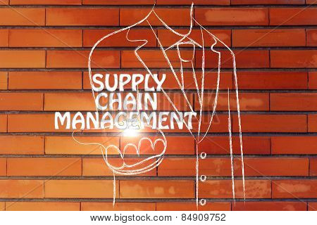 Business Man Handing Out The Word Supply Chain Management