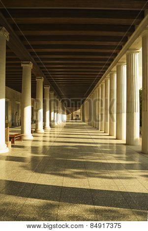 Corridor of an ancient museum, Stoa of Attalos, The Ancient Agora, Athens, Greece
