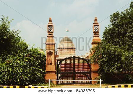 Entrance of a government building, Rashtrapati Bhawan Presidential Palace, New Delhi, India