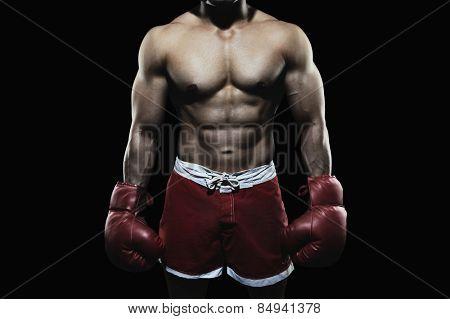 Boxer wearing a glove